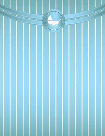 A blue striped background with blue curved ribbon at the top and a baby stroller seal design Vector