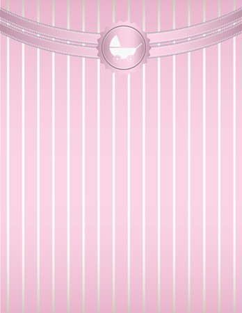 A pink striped background with pink curved ribbon at the top and a baby stroller seal design
