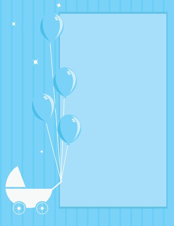 A blue striped background with stroller and balloons