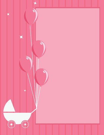 A pink striped background with stroller and balloons