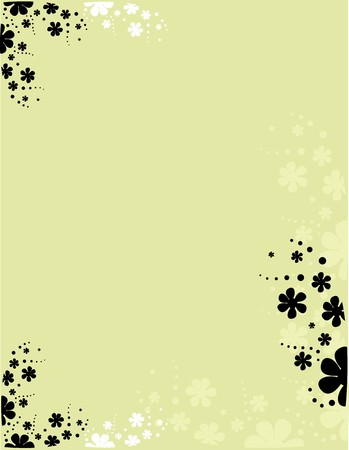 Tan background with scattered white and black flowers