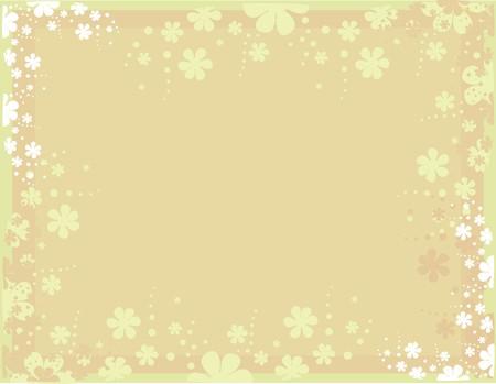 黄褐色の背景散乱白とピンクの花を持つ