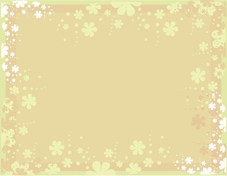 Tan background with scattered white and pink flowers Illustration