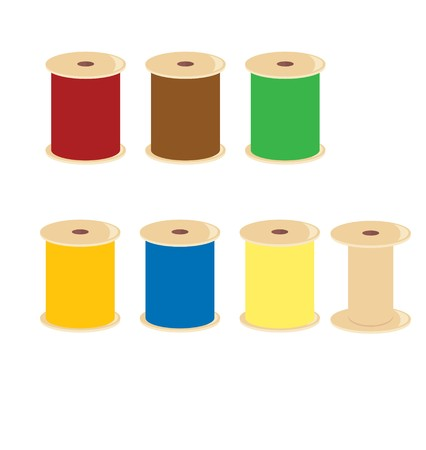 Thread spools with different colors of thread on a white background