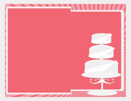Near white three tier cake on a pink background Çizim
