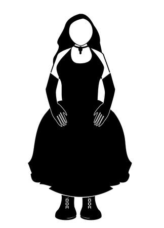 重いブーツと長い黒手袋と黒のドレスの女性