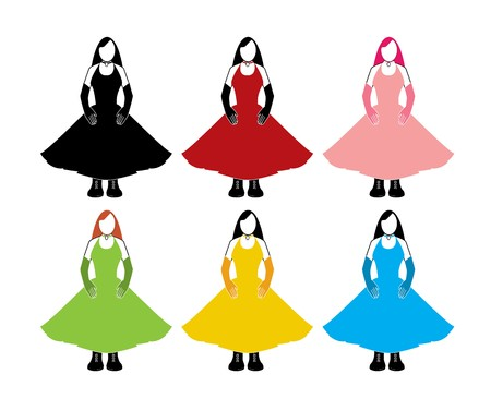 Variations of a woman in a sleeveless dress and long gloves on a white background Illustration