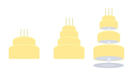Yellow birthday cakes in two layer, four layer, and tier separated styles