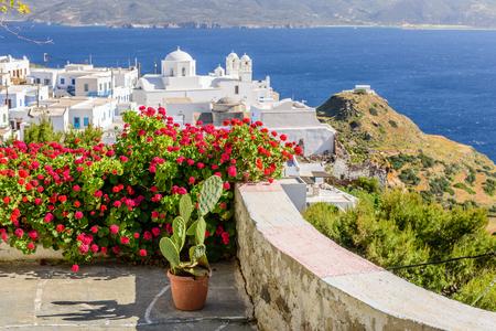 Greece: Typical Cycladic Architecture, Plaka village, Milos island, Cyclades, Greece Stock Photo