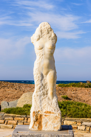 naked statue: The statue of a naked woman on the island of Naxos, Cyclades, Greece.