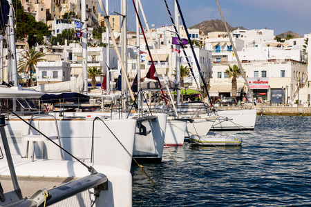 naxos: Naxos island, Greece - JUNE 2: yachts in the harbour of Naxos in JUNE 2, 2015 in Naxos island, Cyclades, Greece.