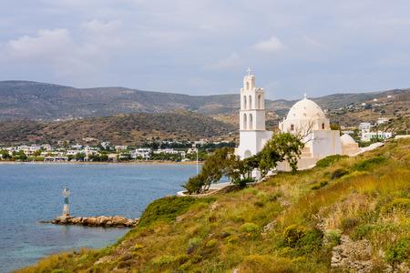 ios: Traditional Greek Church on the beach, Ios island, Cyclades, Greece. Stock Photo