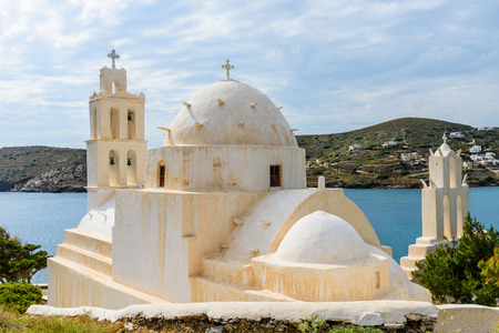 ios: Traditional Greek Church, Ios island, Cyclades, Greece.