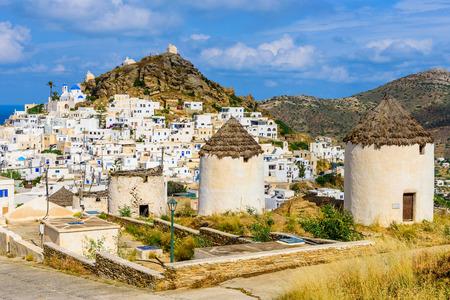 ios: Chora town, Ios island, Cyclades, Greece. Stock Photo