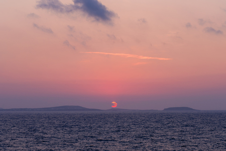 naxos: Beautiful sunset on the sea, Naxos island, Cyclades, Greece. Stock Photo