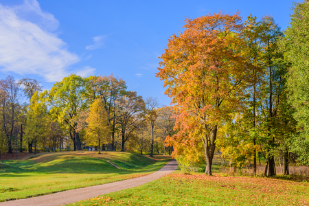 petergof: Beautiful Park in the autumn, Park Alexandria, Petergof, Saint-Petersburg, Russia. Stock Photo