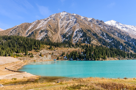 natural landmark: Big Almaty lake is a highland reservoir and natural landmark in Almaty, Kazakhstan. Stock Photo