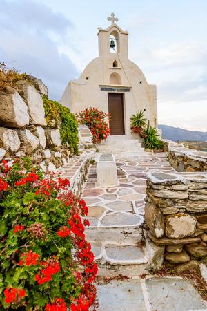 ios: The Church on a high hill, Ios island, Cyclades, Greece.