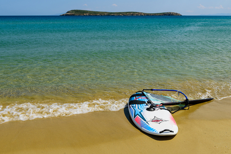 wind surfing: Paros island, Greece - MAY 30: a Lesson in wind surfing on the beautiful beach in MAY 30, 2015, Golden Beach, Paros island, Cyclades, Greece.