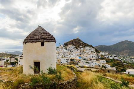 ios: Ios island, Greece - MAY 29: Chora town in MAY 29, 2015, Ios island, Cyclades, Greece.