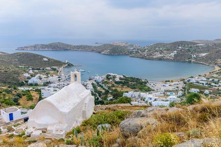 ios: Panorama of the coast of the Greek island of IOS, Cyclades, Greece.