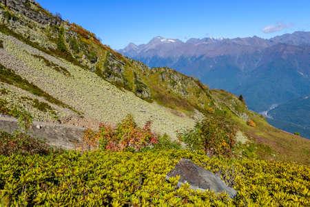 alp: Scenic Caucasus mountains in autumn, Sochi, Russia. Stock Photo