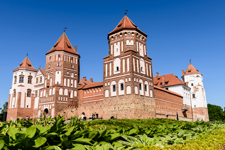 """Mir, Belarus - JUNE 12: the castle complex """"Mir"""" is a historical and cultural monument of national importance and a world heritage site by UNESCO in JUNE 12, 2015 in Mir, Belarus. 新闻类图片"""