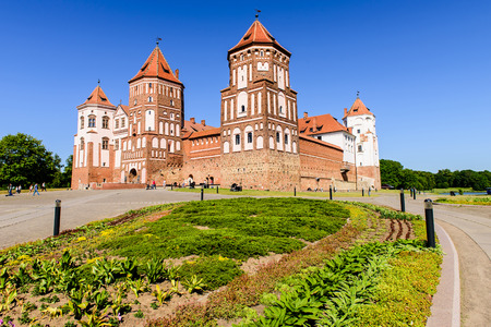 unesco world cultural heritage: Mir, Belarus - JUNE 12: the castle complex Mir is a historical and cultural monument of national importance and a world heritage site by UNESCO in JUNE 12, 2015 in Mir, Belarus.