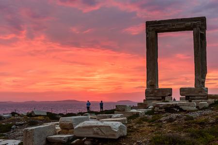 naxos: the Ancient marble gate Portara, Naxos island, Cyclades, Greece. Stock Photo