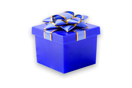 blue gift box: A beautiful blue gift box, isolated on a white background. Stock Photo
