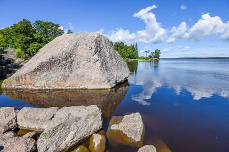 vyborg: A picturesque lake with huge boulders, Vyborg, Russia. Stock Photo