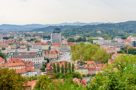 Aerial view of Ljubljana city, Slovenia.