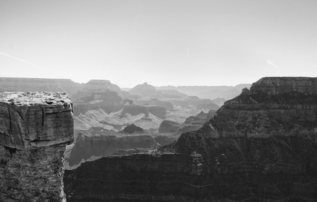 south rim: View from the south rim of the Grand Canyon in black and white taken at Grand Canyon National Park in Northern Arizona.