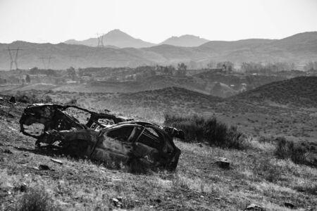 abandoned car: abandoned car landscape