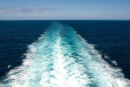 Wake from Cruise Ship Stock Photo