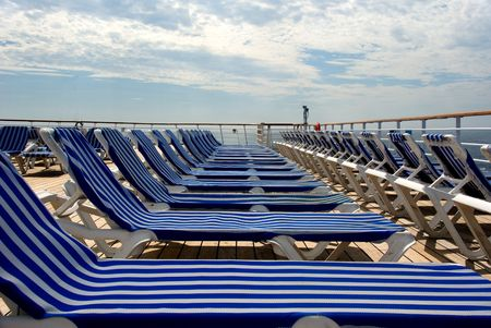 stair well: Lounge Chairs - Upper Deck of Cruise Ship