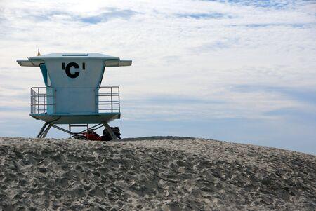 Lifeguard station on Southern California beach on Coronado beach Stock Photo
