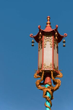 Street lamp in chinatown located in San Francisco California Stock Photo