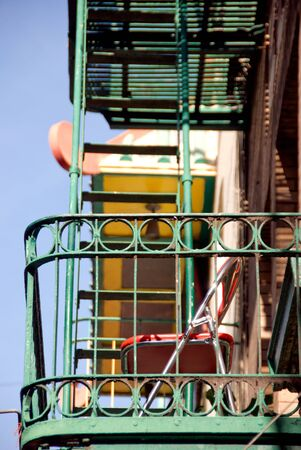 escape: Fire escape on apartment building Stock Photo