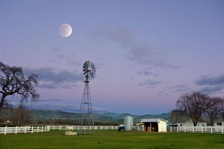 napa valley: Moon over ranch in Napa Valley California
