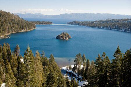Island located in Lake Tahoe, California Stock Photo