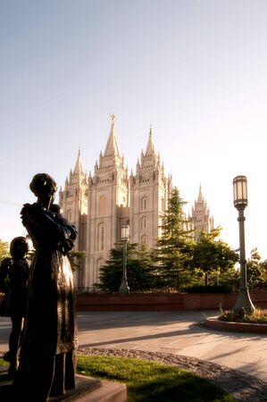 mormon temple: The Mormon Churches Temple Square in Salt Lake City, Utah Stock Photo