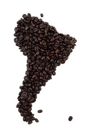 mapa de venezuela: Granos de caf� en la forma de Am�rica del sur
