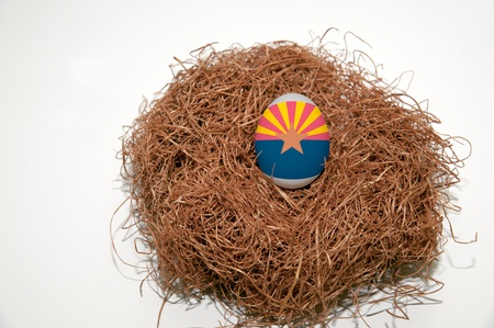 Nest egg with state of Arizona flag painted on the egg Stock Photo