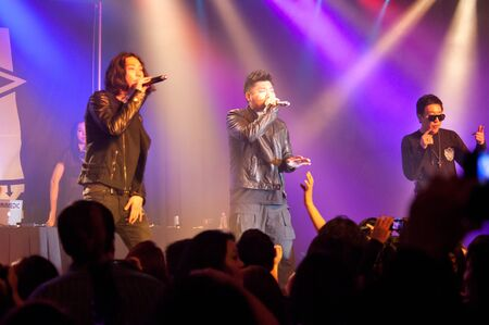 LINCOLN, CA - February 24: K-Pop artists Aziatix, Russell W, Blush, and Iammedics perform at Thunder Valley Casino Resort in Lincoln, California on February 24, 2012 Stock Photo - 13072862