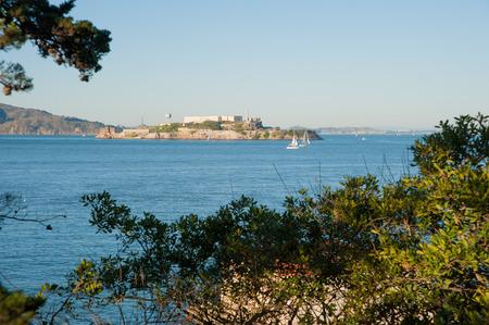 San Francisco, CA - February 03: View of Alcatraz Island from Fort Mason Editorial