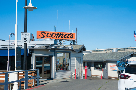 San Francisco, CA - February 03: World famous restaurant Scomas  in San Franciscos Fishermans Wharf Editorial