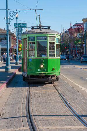 San Francisco, CA - February 03: A trolley car awaits passengers at San Franciscos Fishermans Wharf