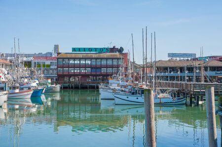 San Francisco, CA - February 03: Fishing docks in San Francisco bay at Fishermans Wharf in San Francisco, CA Editorial