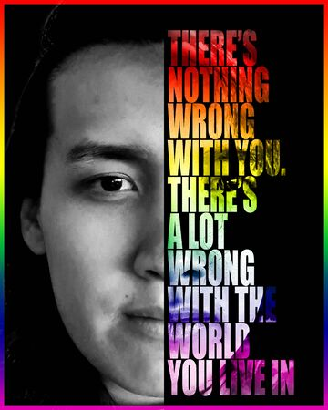LGBT poster art of a face with a quote in the half of it with rainbow colors in black background, for pride.